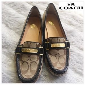 Coach Loafer brown tan Felisha flat shoes 10 B